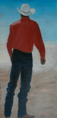 painting of a cowboy seen from the back