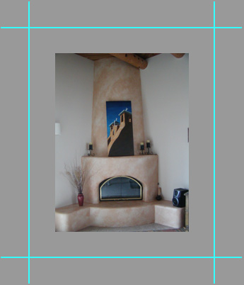 photograph of Jack's church painting hanging above the Rodemans' fireplace